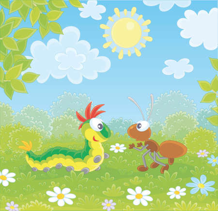 Funny colorful caterpillar and a brown ant friendly talking on a green glade of a forest on a pretty summer day, vector illustration in a cartoon style