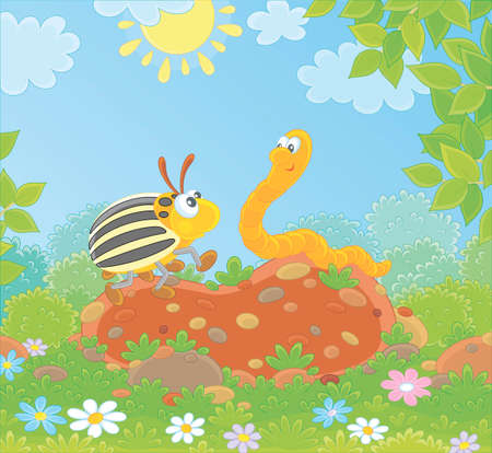 Striped Colorado potato beetle and a funny worm friendly talking on a green glade of a forest on a sunny summer day, vector illustration in a cartoon style