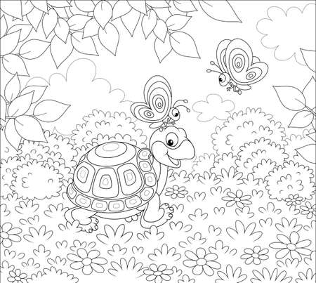 Friendly smiling turtle playing with small butterflies on grass of a forest glade on a wonderful summer day, black and white vector illustration in a cartoon style for a coloring book