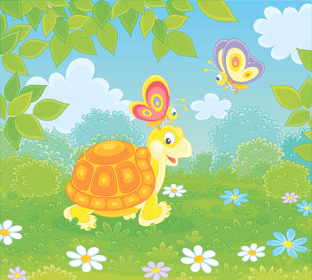 Friendly smiling turtle playing with small colorful butterflies on green grass of a forest glade on a wonderful summer day, vector illustration in a cartoon style