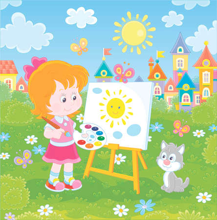 Cute happily smiling little girl drawing the sun and clouds with paints on her easel in a green summer park of a pretty small town on a wonderful sunny day, vector illustration in a cartoon style
