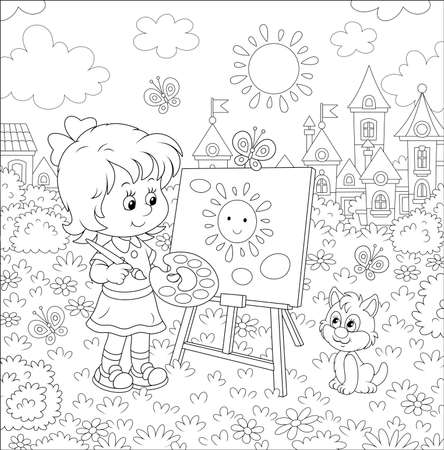 Cute happily smiling little girl drawing the sun and clouds with paints on her easel in a summer park of a pretty small town on a wonderful sunny day, black and white vector illustration Çizim