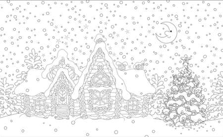 Decorated log house and a fir with toys from a fairytale covered with snow in the night before Christmas, black and white vector illustration in a cartoon style Ilustração