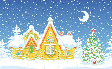 Colorfully decorated log house and a fir with toys from a fairytale covered with snow in the night before Christmas, vector illustration in a cartoon style Ilustração