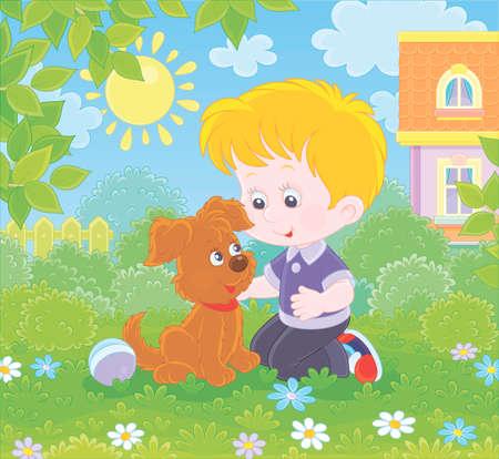 Ragazzino che gioca con un piccolo cucciolo marrone tra i fiori sull'erba verde di un prato davanti a casa sua in una giornata di sole estivo, illustrazione vettoriale in stile cartone animato