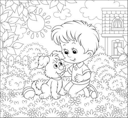 Little boy playing with a small pup among flowers on a lawn in front of his house on a sunny summer day, black and white vector illustration in a cartoon style for a coloring book