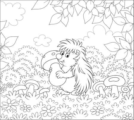 Friendly smiling spiny hedgehog holding a big mushroom on a pretty glade of a forest, black and white vector illustration in a cartoon style for a coloring book Vectores