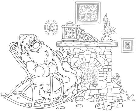 Santa Claus sitting in his creaking rocking chair and basking by an old fireplace with a mantel clock after a winter walk through a snowy forest, black and white vector illustration in a cartoon style for a coloring book