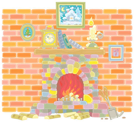 Old stone fireplace with burning firewoods and a mantel clock, books and a burning candle on a wood chimneypiece against a background of a brick wall, vector illustration in a cartoon style