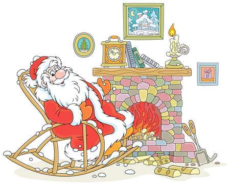 Der Weihnachtsmann sitzt in seinem knarrenden Schaukelstuhl und sonnt sich nach einem Winterspaziergang durch einen verschneiten Wald an einem alten Kamin mit einer Kaminuhr, Vektorgrafik im Cartoon-Stil