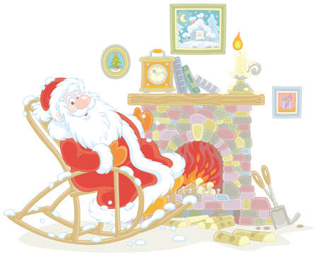 Santa Claus sitting in his creaking rocking chair and basking by an old fireplace with a mantel clock after a winter walk through a snowy forest, vector illustration in a cartoon style