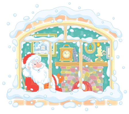 Smiling Santa Claus looking through a window and basking by his old fireplace after a winter walk in a snowy forest, vector illustration in a cartoon style