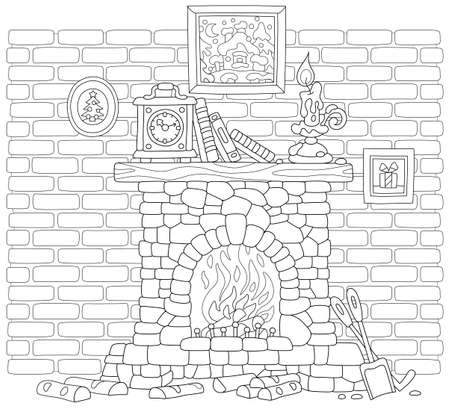 Old stone fireplace with burning firewoods and a mantel clock, books and a burning candle on a wood chimneypiece against a background of a brick wall, black and white vector illustration in a cartoon style for a coloring book page