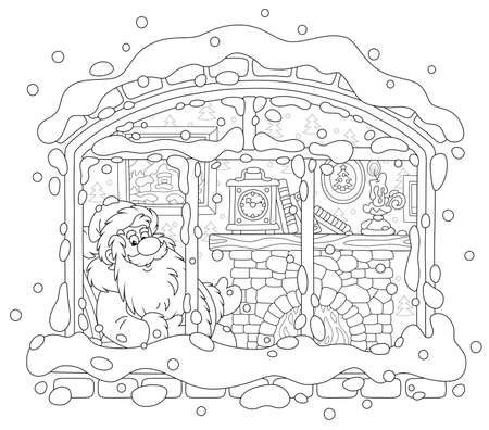 Smiling Santa Claus looking through a window and basking by his old fireplace after a winter walk in a snowy forest, black and white vector illustration in a cartoon style for a coloring book