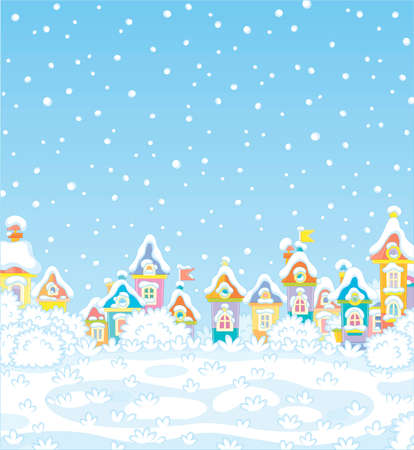 Christmas background with colorful houses of a small toy town on a snowy winter day, vector illustration in a cartoon style Ilustração