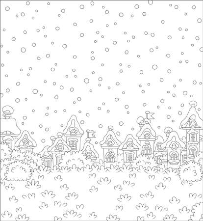 Christmas landscape with houses of a small toy town on a snowy winter day, black and white vector illustration in a cartoon style for a coloring book