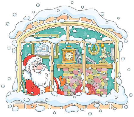 Santa Claus looking through a window and basking by his old fireplace after a winter walk in a snowy forest, vector illustration in a cartoon style
