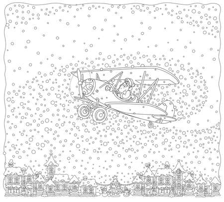 Christmas background with Santa Claus flying his old wood airplane through snowfall over a small town, black and white vector illustration in a cartoon style for a coloring book
