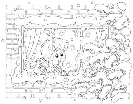 Smiling curious boy with his cheerful small pup looking through a window and watching a funny bird perched on a snow-covered branch of a fir against their house on a frosty winter day, black and white vector illustration in a cartoon style for a coloring book