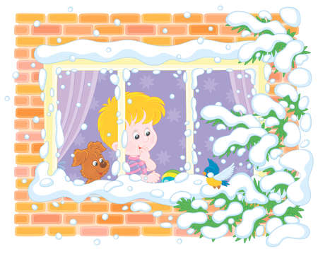 Smiling curious boy with his cheerful small pup looking through a window and watching a funny bird perched on a snow-covered branch of a fir against their house on a frosty winter day, vector illustration in a cartoon style