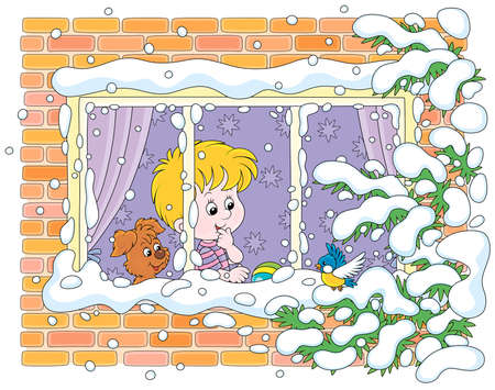 Smiling curious boy with his cheerful small pup looking through a window and watching a funny bird perched on a snow-covered branch of a fir against their house on a frosty winter day Ilustração