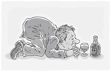 Drunken man kneeling in front of a glass and a bottle of wine, black and white outline vector illustration