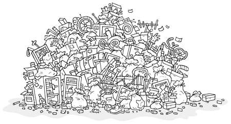 Big heap of household rubbish, trash bags and broken junk, black and white outline vector illustration