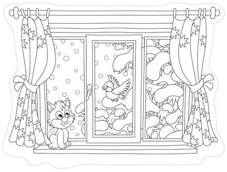 Cute curious kitten looking through a window and watching a funny bird perched on a snow-covered fir branch on a snowy winter day, black and white vector illustration in a cartoon style for a coloring book
