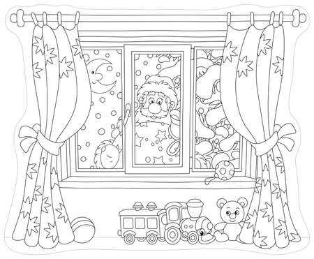 Santa Claus holding his gift bag and looking through a window with curtains into a nursery on the snowy night before Christmas, black and white vector illustration
