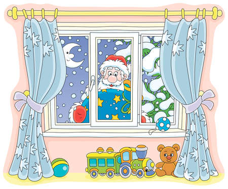 Santa Claus holding his gift bag and looking through a window with curtains into a nursery on the snowy night before Christmas, vector illustration in a cartoon style