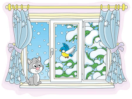 Cute curious kitten looking through a window and watching a funny bird perched on a snow-covered fir branch on a snowy winter day, vector illustration in a cartoon style Ilustração