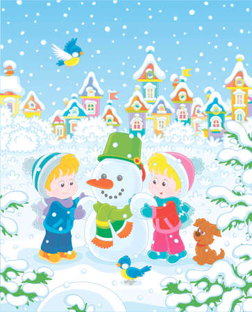 Smiling little kids making a funny snowman with a bucket and a scarf on a snow-covered playground of a winter park of a small town, vector illustration in a cartoon style Illustration