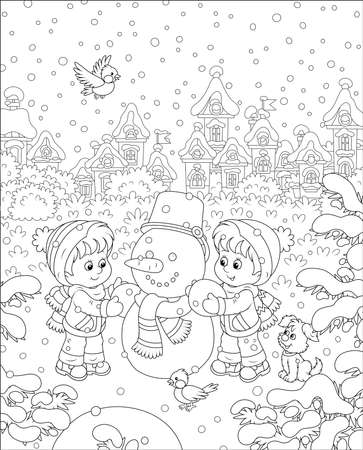 Smiling little kids making a funny snowman with a bucket and a scarf on a snow-covered playground of a winter park of a small town, black and white vector illustration in a cartoon style