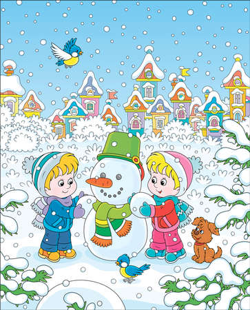 Smiling little kids making a funny snowman with a bucket and a scarf on a snow-covered playground of a winter park of a small town, vector illustration in a cartoon style Stock Vector - 131713975