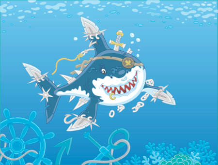 Perfidiously smiling great white shark pirate with fins sabers attacking in blue water of a tropical sea near a coral reef with wreckage of an old sail ship, vector illustration in a cartoon style Illustration