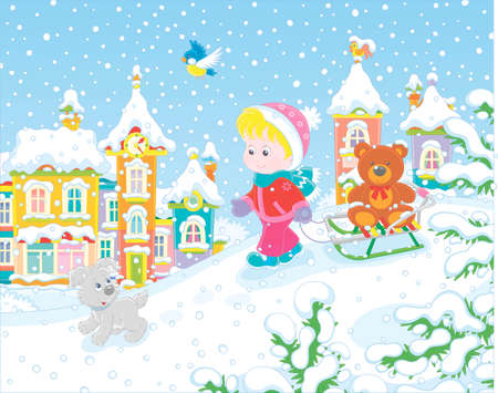 Little girl walking with her small cheerful pup and a sledge with a funny toy bear on a snow-covered playground in a winter park of a small town, vector illustration in a cartoon style