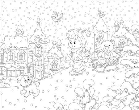 Little girl walking with a small cheerful pup and a sledge with a funny toy bear on a snow-covered playground in a winter park of a small town, black and white vector illustration in a cartoon style Ilustração