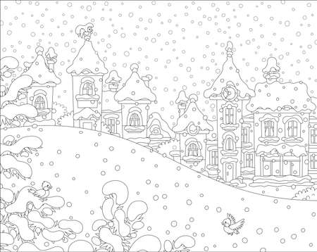 Christmas landscape with a snow hill in a park and houses of a small toy town on a snowy winter day, black and white vector illustration in a cartoon style for a coloring book Ilustração