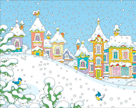 Christmas background with a snow hill in a park and colorful houses of a small toy town on a snowy winter day, vector illustration in a cartoon style