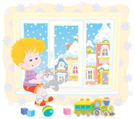 Smiling boy playing with his small grey kitten on the windowsill of a nursery on a snowy winter day, vector illustration in a cartoon style
