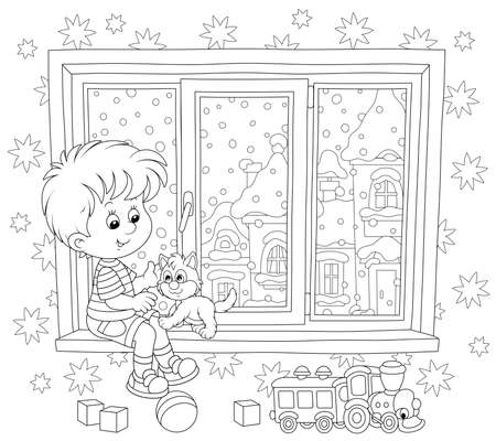 Smiling boy playing with his small kitten on the windowsill of a nursery on a snowy winter day, black and white vector illustration in a cartoon style for a coloring book