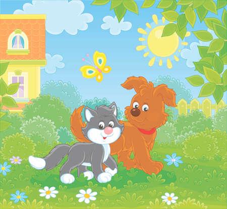 Cucciolo marrone divertente che cammina con un gattino bianco e nero su un prato verde vicino a una casa in una giornata di sole estivo, illustrazione vettoriale in stile cartone animato