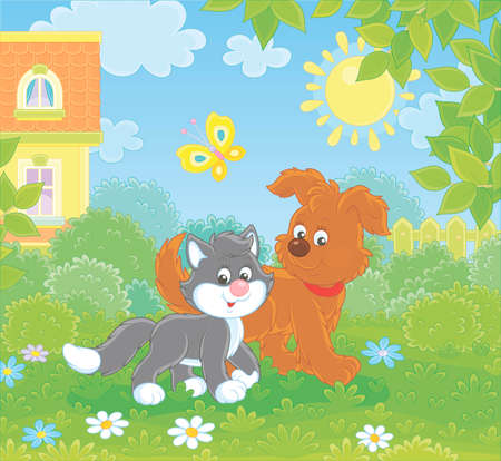 Funny brown pup walking with a black and white kitten on a green lawn by a house on a sunny summer day, vector illustration in a cartoon style