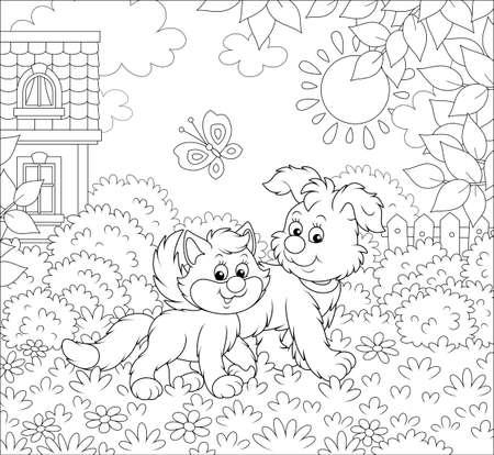 Cucciolo divertente che cammina con un gattino su un prato vicino a una casa in una giornata di sole estivo, illustrazione vettoriale in bianco e nero in stile cartone animato per un libro da colorare