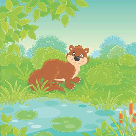 Brown river otter in grass by a small blue lake in a wild green forest on a summer day, vector illustration in a cartoon style