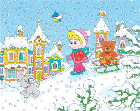 Little girl walking with her small cheerful pup and a sledge with a funny toy bear on a snow-covered playground in a winter park of a small town, vector illustration in a cartoon style Illustration