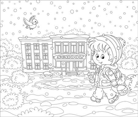 Smiling schoolboy with his schoolbag going to school through snowfall, black and white vector illustration in a cartoon style for a coloring book