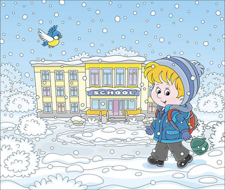 Winter morning, a smiling schoolboy with his schoolbag going to school through snowfall, vector illustration in a cartoon style