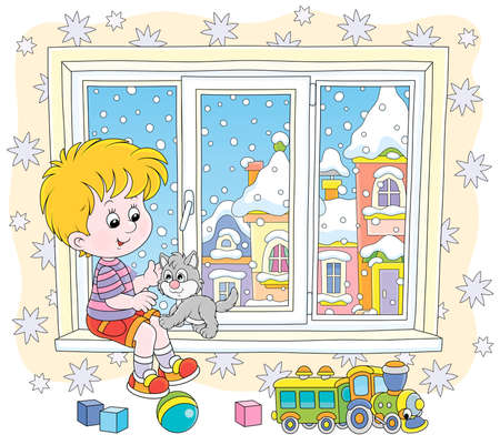 Cheerful little boy playing with his small grey kitten on the windowsill of a nursery on a snowy winter day, vector illustration in a cartoon style