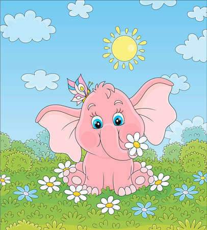 Little pink elephant playing with a funny butterfly among white flowers on green grass on a sunny summer day, vector illustration in a cartoon style